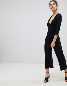 Read more about Miss selfridge ruffle front wrap jumpsuit - black