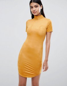 Read more about Lasula suedette high neck bodycon dress in yellow - yellow