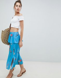 Read more about Asos design midi tea skirt in blue floral print - blue