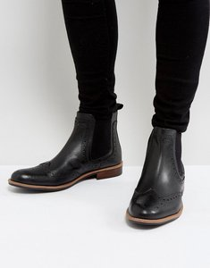 Read more about Silver street brogue chelsea boots in black leather - black