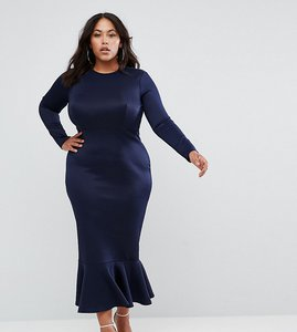 Read more about Club l plus office long sleeve detailed dress with peplum frill hem bodycon midi dress - navy