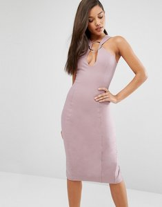 Read more about Lavish alice metal ring plunge detail midi dress - mauve