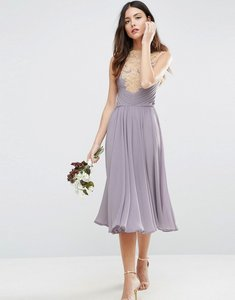 Read more about Asos wedding lace applique midi dress - lilac