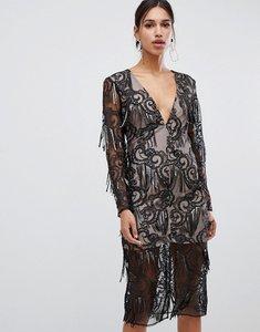 Read more about True decadence premium sequin tassel pencil dress in black - black