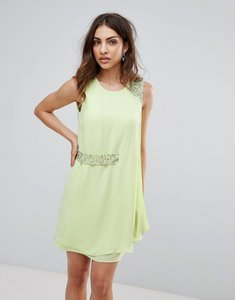 Read more about French connection cecile drape embellished trim dress - spring apple
