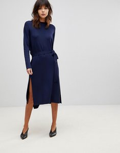 Read more about Asos wrap back midi dress in knit - navy
