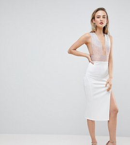 Read more about Asos tall deep plunge ombre sparkle bodycon midi dress - white