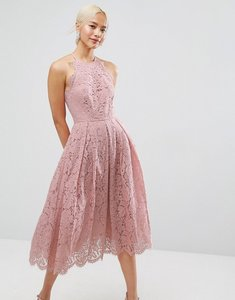 Read more about Asos lace pinny scallop edge prom midi dress - pink