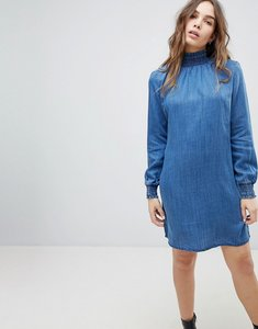 Read more about Only high neck denim smock dress - blue