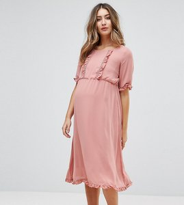 Read more about Mamalicious ruffle insert dress - old rose