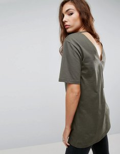 Read more about Asos t-shirt with cutout back - khaki