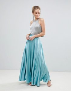 Read more about Asos satin maxi skirt with centre front split - mint