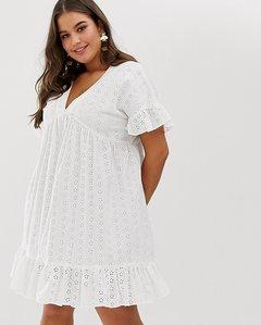 Read more about Asos design curve v front v back smock mini dress with pep hem in broderie