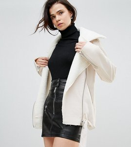 Read more about Glamorous tall jacket in faux shearling - cream