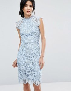 Read more about Chi chi london scallop lace pencil dress - blue