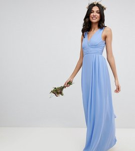 Read more about Tfnc tall wrap front maxi bridesmaid dress with tie back - bluebell