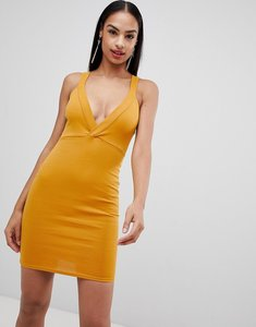 Read more about Missguided plunge front bodycon dress - mustard