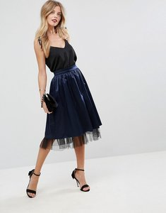 Read more about Asos structured satin midi skirt with tulle underlayer - navy