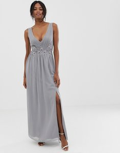 Read more about Little mistress pleated maxi dress with lace detail