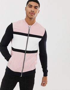 Read more about Asos design muscle jersey bomber jacket in pink with colour blocking - sugar rush