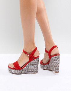 Read more about Aldo two part wedge shoe in red with textured heel - red