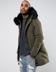 Read more about Sixth june parka jacket in khaki with faux fur hood - khaki