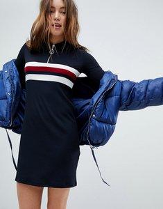 Read more about Bershka sporty collar zip dress - navy