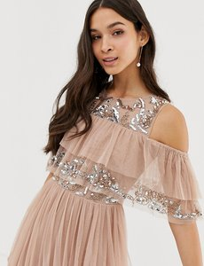 Read more about Maya cold shoulder ruffle and sequin detail tulle maxi dress in taupe blush