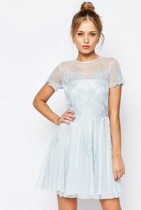 Read more about Asos salon lace applique mesh mini skater dress - blue