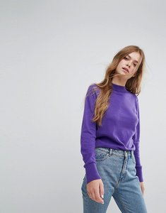 Read more about Monki high neck knitted jumper - purple