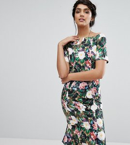 Read more about Paper dolls tall allover floral print off shoulder pencil midi dress - multi