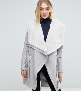 Read more about Asos tall waterfall parka with borg lining - grey