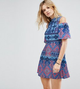 Read more about White cove tall cold shoulder printed skater dress - multi