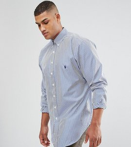 Read more about Polo ralph lauren big tall poplin pinstripe shirt in white blue - blue white