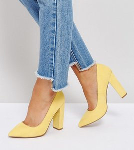 Read more about Asos phantom wide fit pointed heels - yellow