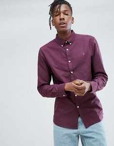 Read more about Farah brewer slim fit oxford shirt in purple - 508 purple
