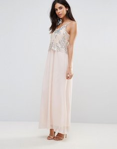 Read more about Club l maxi dress with sequin overlay - nude silver