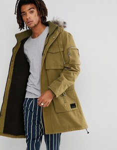 Read more about Brooklyns own heavyweight parka in green with faux fur hood - green