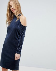 Read more about Pieces cold shoulder glitter velvet mini dress - navy