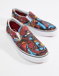 2a680537f0 Read more about Vans x marvel spiderman slip on plimsolls va38f79h7 - black