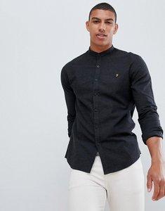 Read more about Farah steen slim fit textured grandad collar shirt in grey - grey
