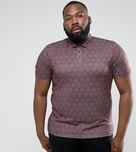 Read more about Asos plus polo shirt in all over retro print - red
