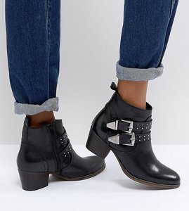 Read more about Office alexia black leather western ankle boots - black