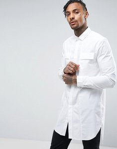 Read more about Asos regular fit super longline shirt in white - white