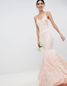 Read more about Club l lace bandeau fishtail maxi dress with sequin detail - light pink
