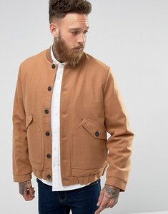 Read more about Asos wool mix bomber jacket with borg lining in camel - camel