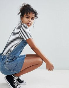 Read more about Asos denim dungaree dress in midwash blue - mid wash blue