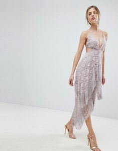 Read more about Asos lace fringe cut away midi dress with strappy back - mink