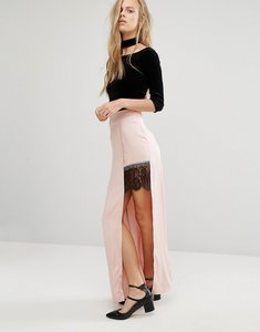 Read more about Miss selfridge satin lace split maxi skirt - pink