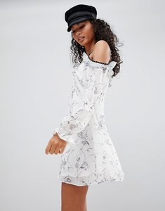 Read more about Glamorous ditsy print cold shoulder dress - white grey ditsy